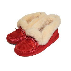 TDG Australia Red Fuzzy Moccasin Slippers